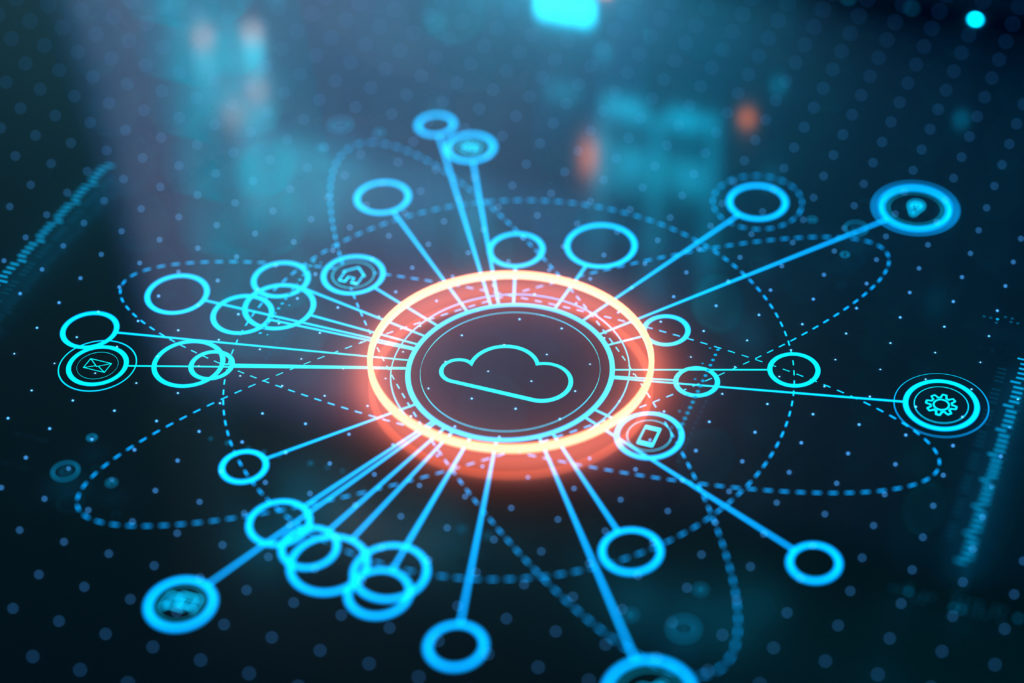 Quocirca Cloud Services June Insight report. Image of a digitally connected cloud to illustrate cloud services.